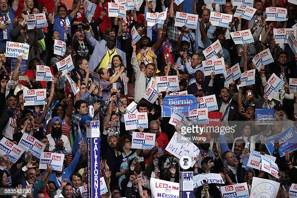 The California delegation casts their votes during roll call on the second day of the Democratic National Convention at the Wells Fargo Center July...