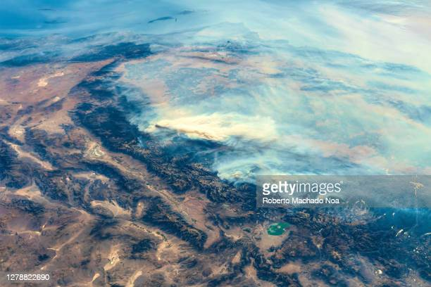 the california fires, usa - international space station stock pictures, royalty-free photos & images