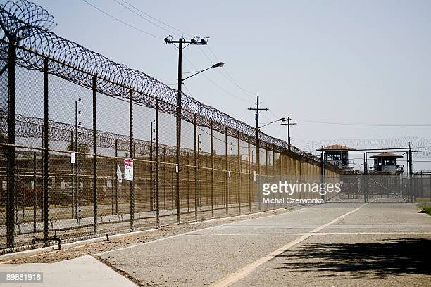The California Institution for Men prison fence is seen on August 19 2009 in Chino California After touring the prison where a riot took place on...