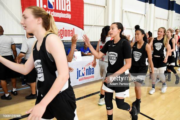 The California Storm celebrate after winning against XBA during the Jr NBA World Championship West Regional Finals at The Map Sports Facility on May...