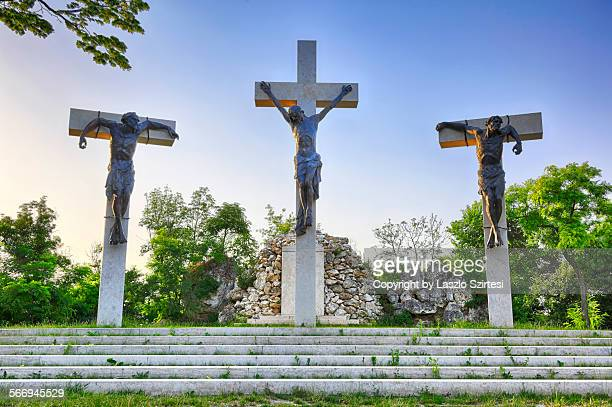 the calvary in tihany - stations of the cross stock pictures, royalty-free photos & images