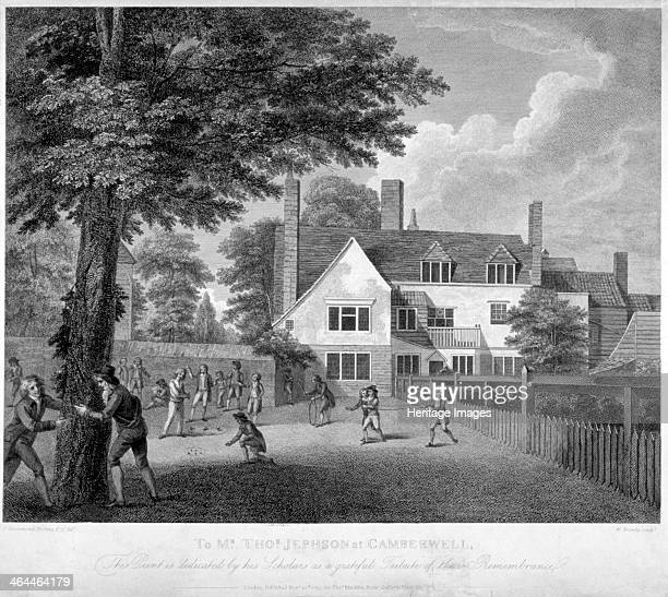 The Camberwell Free Grammar School Camberwell London 1795 View of the school with children playing in front
