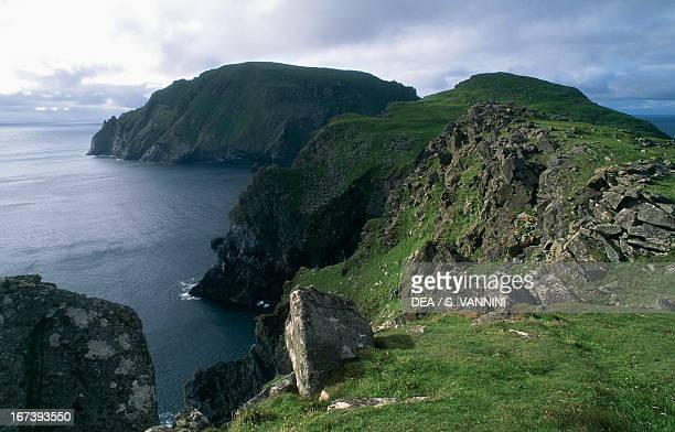 The Cambir peninsula on Hirta Island, looking out on Soay, archipelago of St Kilda, Outer Hebrides, Scotland, United Kingdom.
