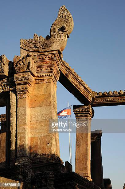 The Cambodian flag flies at the Angkor-era temple complex of Preah Vihear is located on the border with Thailand, and is again the certain of a row...