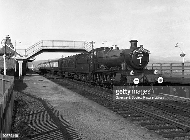 """The Cambrian Coast Express, hauled by a 7800 class 4-6-0 locomotive number 7818 """"Granville Manor"""", by Selwyn Pearce-Higgins, 1961. This train..."""
