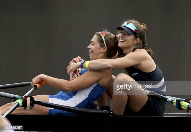 The Cambridge Boat Club/ARION composite crew of Gevvie Stone and Kristina Wagner celebrates the win the Women's Double Sculls final during the United...