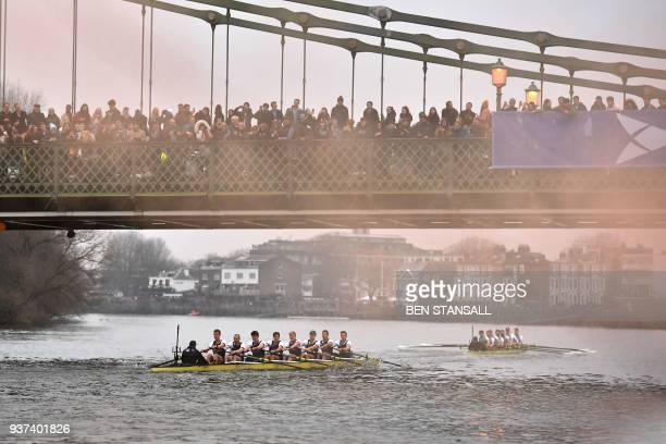 TOPSHOT The Cambridge boat crewed by cox Hugo Ramambason Freddie Davidson Rob Hurn Finn Meeks Spencer Furey Dara Alizadeh James Letten Patrick Elwood...