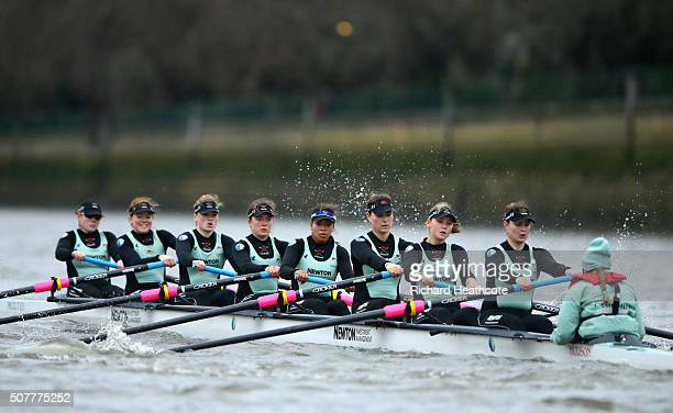 The Cambridge crew in action during The 2016 Cancer Research UK Boat Race Trial race between Cambridge University Womens Boat Club and Oxford Brookes...