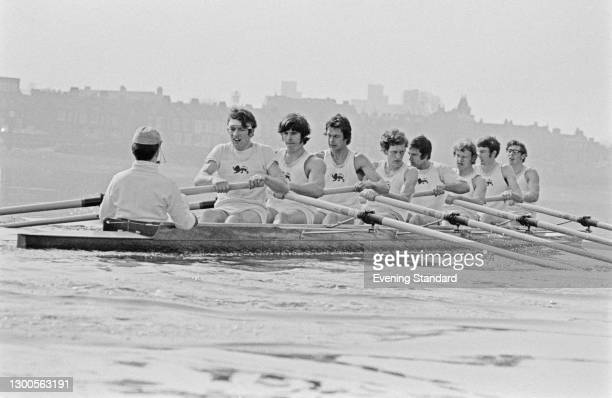 The Cambridge crew in training for the 1973 Oxford-Cambridge boat race on the River Thames, UK, 30th March 1973.