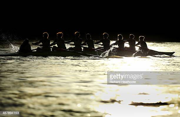 The Cambridge crew of 'Nudge Nudge'' in action during the Women's University Boat Race Trial 8's race on The River Thames on December 19 2013 in...
