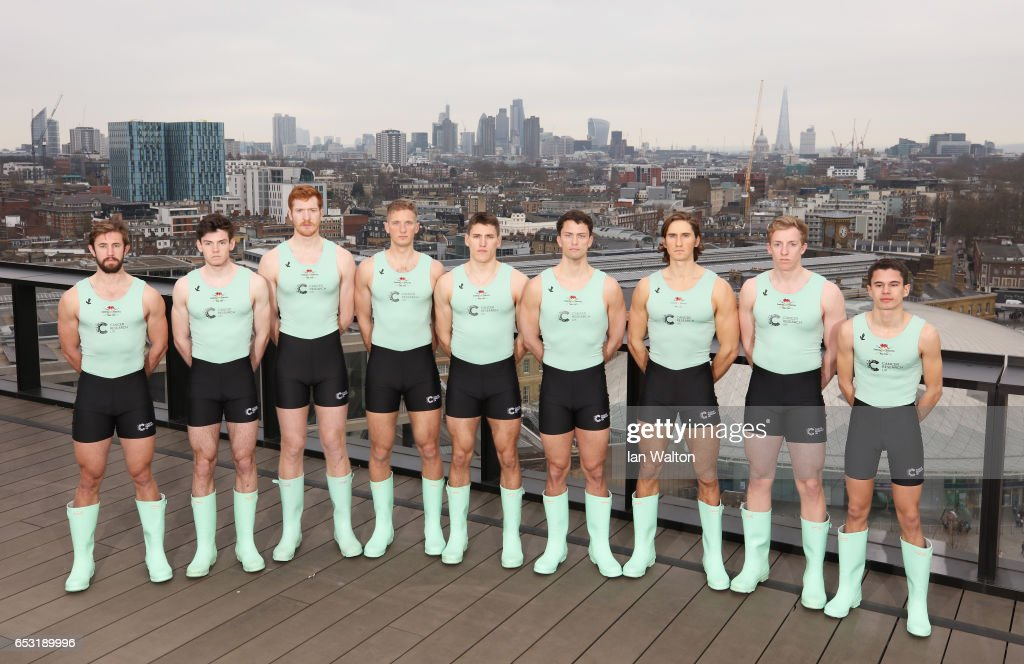 The Cambridge Men's crew pose prior to the Men's crew announcement for the 2017 Cancer Research UK University Boat Races at Google's London headquarters on March 14, 2017 in London, England.