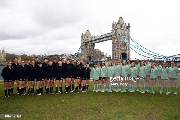 The Cambridge University Boat Club and Oxford University Boat Club pose for a photo during The Boat Race Crew Announcement 2019 on March 14 2019 in...