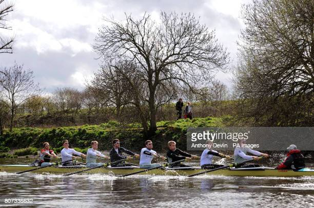 The Cambridge University boat race crew during the training session on the River Thames London