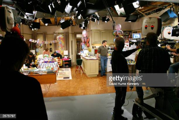 The camera crew prepares to shoot a scene of the hit NBC series 'Friends' during one of their last shows on the Warner Bros lot Sept 12 2003 in...