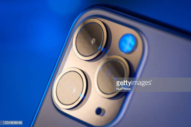 The camera module is seen on the back of an iPhone 11 Pro Max in The Hague The Netherlands on March 3 2020 The South Korean LG Innotek which supplies...
