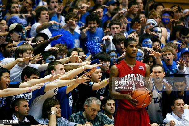 The Cameron Crazies heckle Landon Milbourne of the Maryland Terrapins during the second half at Cameron Indoor Stadium on February 13 2008 in Durham...