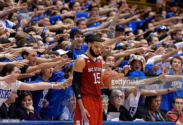 The Cameron Crazies taunt Cody Martin of the North Carolina State Wolfpack during their game against the Duke Blue Devils at Cameron Indoor Stadium...