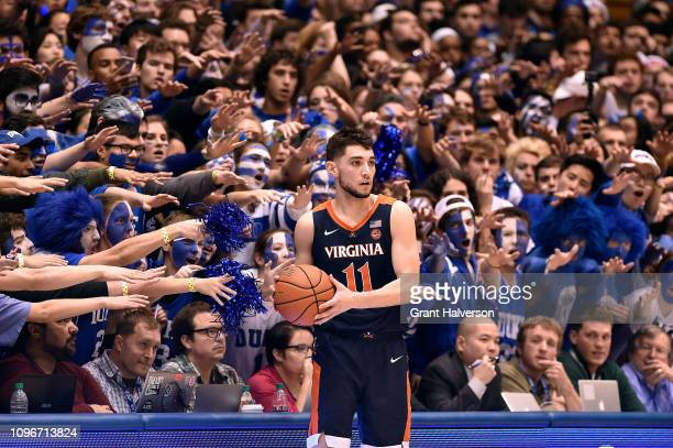 The Cameron Crazies taunt Ty Jerome of the Virginia Cavaliers during the second half of their game against the Duke Blue Devils at Cameron Indoor...