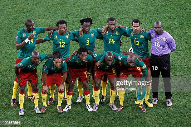 The Cameroon Team during the 2010 FIFA World Cup South Africa Group E match between Cameroon and Netherlands at Cape Town Stadium on June 24 2010 in...