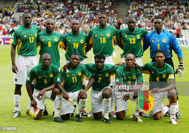 The Cameroon team lineup with MarcVivien Foe of Cameroon during the Confederation Cup SemiFinal match between Colombia and Cameroon on June 26 2003...