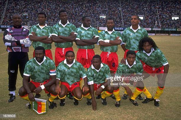 The Cameroon team pose for a photograph before a World Cup Qualifying match Mandatory Credit David Cannon/Allsport