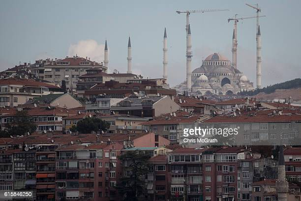 The Camlica Mosque nears completion on the Camlica hill overlooking the neighbourhood of Uskudar on October 20 2016 in Istanbul Turkey At 15000...