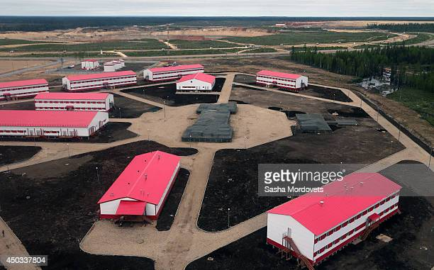 The camp at Grib deposit diamond mine also known as Verkhotina that is owned by Lukoil is seen June 9 2014 in Mezen district 130 km northeast of...