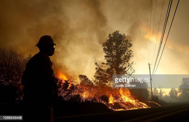 The Camp Fire moves through the area on November 8, 2018 in Paradise, California. Fueled by high winds and low humidity, the rapidly spreading Camp...