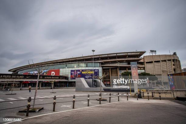 The Camp Nou stadium home to FC Barcelona stands in Barcelona Spain on Tuesday March 10 2020 Spains economy is particularly vulnerable to disruption...