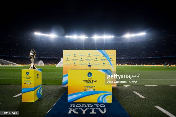 The Camp Nou stadium hosts the UEFA Futsal Cup Finals Zaragoza 2018 draw during the halftime of the UEFA Champions League Round of 16 Second Leg...