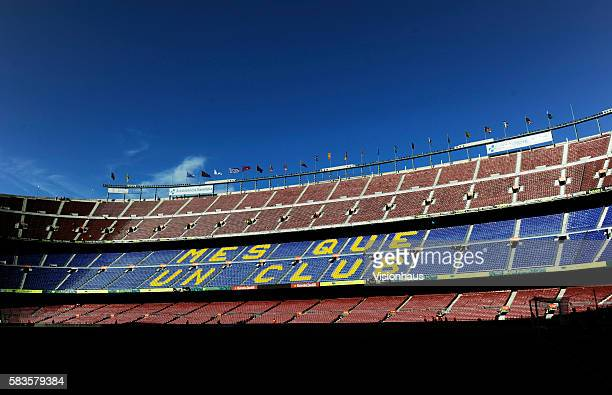 The Camp Nou with the more than a club logo before the La Liga Division 1 match between Barcelona and Real Madrid at the Camp Nou in Barcelona Spain...