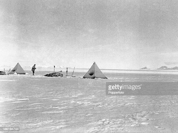 The camp on Beardmore Glacier taken during the last tragic voyage to Antarctica by Captain Robert Falcon Scott and his crew among them Lieutenant...