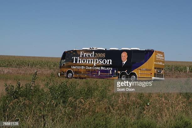 The campaign bus of Actor and former US Senator Fred Thompson passes through the countryside during a campaign swing through Iowa September 7 2007...