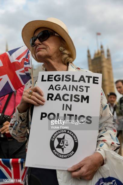 The campaign group Campaign Against Antisemitism Jewish community groups and their supporters stage a protest in Parliament Square London England on...