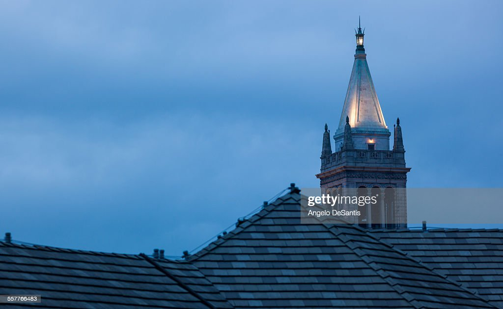 The Campanile (Sather Tower) at dusk : Stock Photo