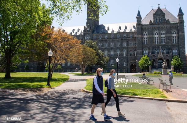 The campus of Georgetown University is seen nearly empty as classes were canceled due to the coronavirus pandemic, in Washington, DC, May 7, 2020. -...