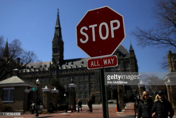 The campus of Georgetown University is shown March 12 2019 in Washington DC Georgetown University and several other schools including Yale Stanford...