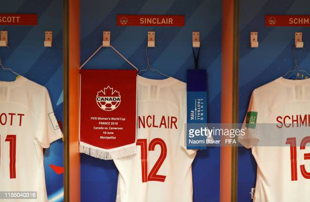 The Canada pennant is seen alongside the shirt of Christine Sinclair of Canada inside the changing room prior to the 2019 FIFA Women's World Cup...