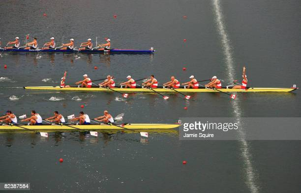 The Canada team celebrates a gold medal in the Men's Eight at the Shunyi Olympic Rowing-Canoeing Park during Day 9 of the Beijing 2008 Olympic Games...