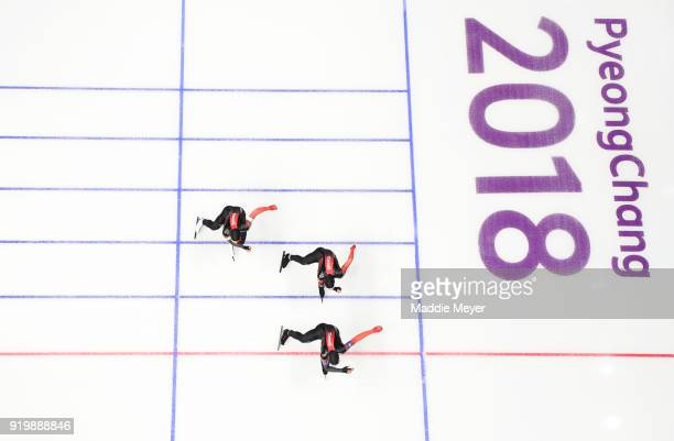 The Canada team compete during the Men's Team Pursuit Speed Skating Quarter Finals on day nine of the PyeongChang 2018 Winter Olympic Games at...