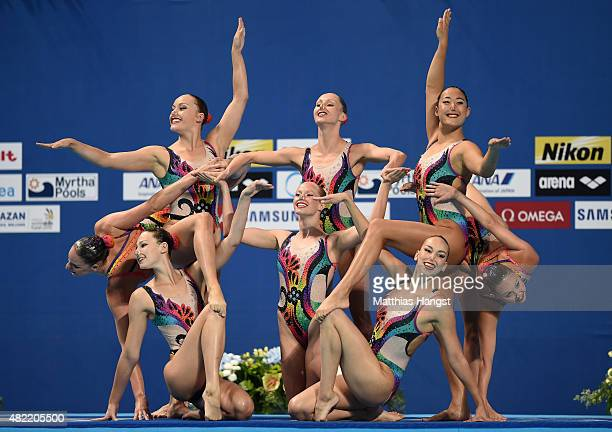 The Canada team competes in the Women's Team Free Synchronised Swimming Preliminary on day four of the 16th FINA World Championships at the Kazan...