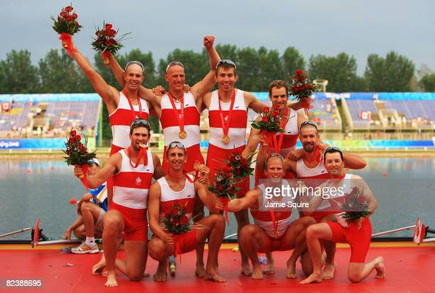 The Canada team pose after winning the gold medal in the Men's Eight Final at the Shunyi Olympic RowingCanoeing Park during Day 9 of the Beijing 2008...