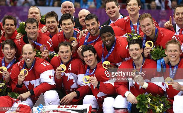 The Canada team pose with the gold medals won during the Men's Ice Hockey Gold Medal match against Sweden on Day 16 of the 2014 Sochi Winter Olympics...