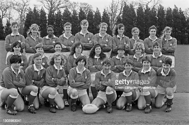 The Canada team squad posed together on the first day of competition in the 1991 Women's Rugby World Cup in Cardiff, Wales on 6th April 1991. Members...