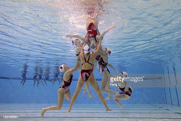 The Canada team train during day two of the 6th FINA Synchronised Swimming World Trophy at the Water Cube on December 10 2011 in Beijing China