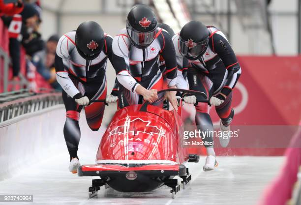 The Canadian Bobsleigh driven by Nick Poloniato competes in Heat 1 of the 4Man Bobsleigh at Olympic Sliding Centre on February 24 2018 in...