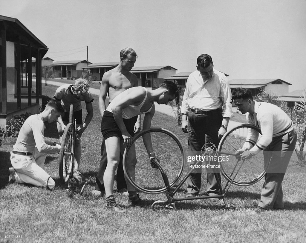 The Canadian Cyclists After Arrival At The Olympic Village In Los Angeles On July 25Th 1932 : News Photo
