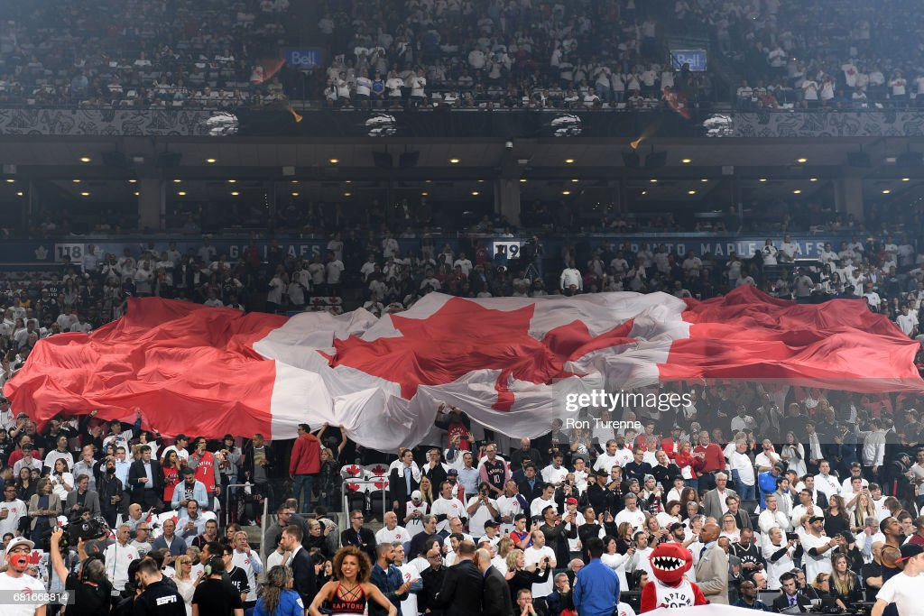 The Canadian Flag is passed around the Air Canada Centre before the game of the Toronto Raptors and the Cleveland Cavaliers during Game Three of the Eastern Conference Semifinals of the 2017 NBA Playoffs on April 18, 2017 at the Air Canada Centre in Toronto, Ontario, Canada.
