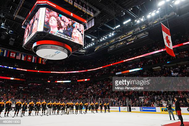 The Canadian flag is raised to the rafters after Team Canada defeated Team Germany during the 2015 IIHF World Junior Hockey Championship game at the...