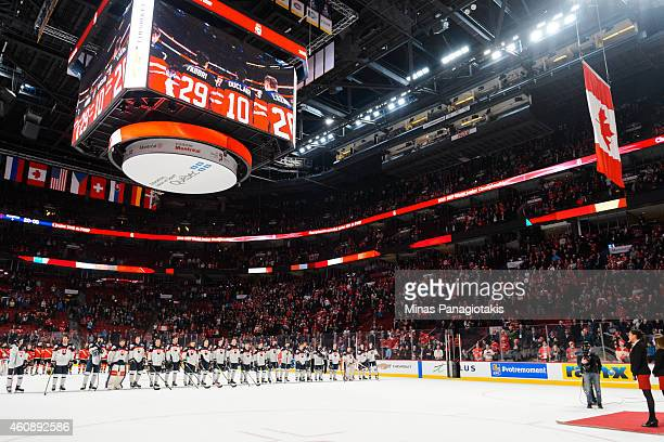 The Canadian flag is raised to the rafters at the end of the 2015 IIHF World Junior Hockey Championship game between Team Slovakia and Team Canada at...